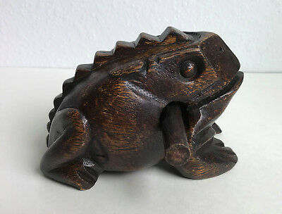 Frog Carved Wooden Sculpture Croaking Sound Kids Percussion Musical Instrument