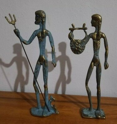 Vintage Etruscan Greek Male Statues Figures Frederick Weinberg Mid Century Style