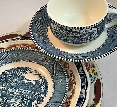 Mismatched China 6-pc Staffordshire, Delft,Tabletops, Currier Ives - Farm Bride