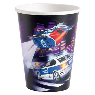 (paper cup) - Officer mugs Kids Birthday 8 Police cups 266 ml party cups
