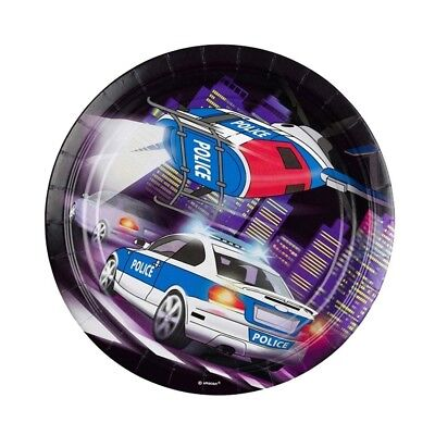 (paper plate) - Officer disposable plate Kids Birthday 8 Plates Police Party