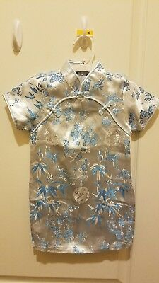 Baby Blue Floral Dress Girls Cheongsam Chinese QiPao Dress - Fits 2-3 yr old