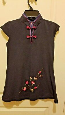 Eastern Collection - Oriental Style Dark Blue Girls Chinese Top Shirt - Size 10