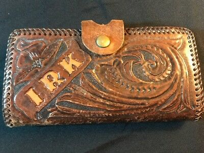 Leather Billfold Brown Vintage Wallet Hand Tooled Western Floral