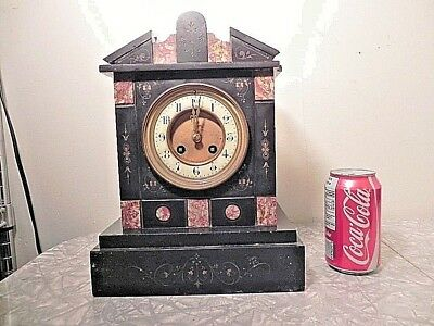 Vintage Slate And Marble Chiming Mantel Clock