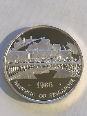 1986 Singapore Republic 1 oz Proof Silver Dbl Dragon Singapore-Malaysia Railroad