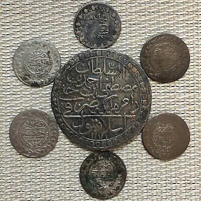 1171,1233,1255 AH,6 Coins 21 mm & 1 Huge Coin 44 mm,Islamic Ottoman Coins,Turkey