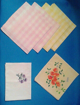Vintage - Mixed Set Of 6 Quality Cotton Handkerchiefs - Hand Painted, Floral....