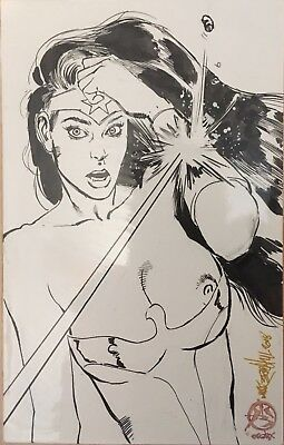 Wonder Woman Original Ink Drawing By Mark Beachum Signed with Seal