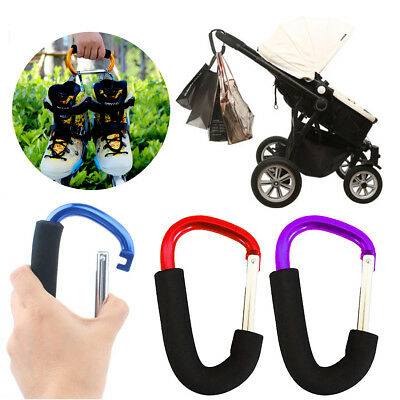 Buggy Clips x2 Coloured Large Pram Pushchair Shopping Bag Hooks Mummy Carry Clip