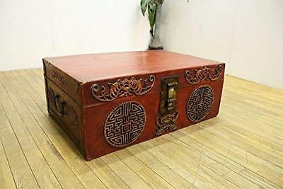 Chinese Syle Chest Trunk Showa Period 26.77 x 17.91 x 10.04 inch F/S Fr JP(196U)