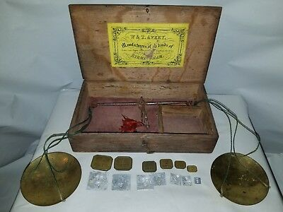 Antique (100+) W&T AVERY Birmingham Portable Balance Scale Gold Opium Apothecary