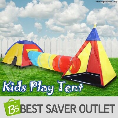 Kids Toddlers Teepee Tunnel Pop Up Play Tent Cubby Playhouse Indoor Outdoor Toy