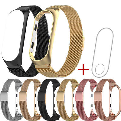 Milanese Magnetic Stainless Steel Watch Band Strap + Film For Xiaomi Mi Band 3