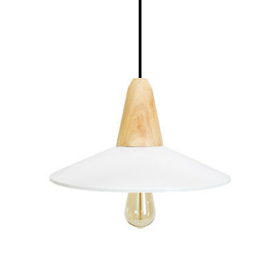 Minimalist Metal White Pendant Lighting Wooden Nordic Ceiling Lamp