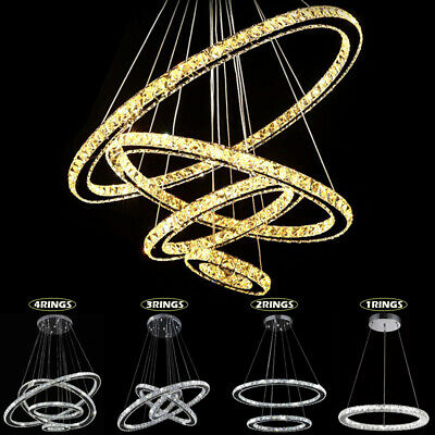 Modern Galaxy Crystal Chandelier Circles Pendant LED Light Ceiling Lamp Fixtures