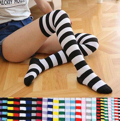 Fashion Women's Cotton Socks Thigh High Striped Over the Knee Slim Leg Stockings