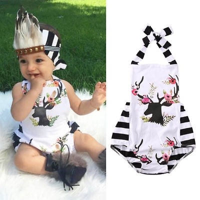 AUSTOCK Toddler Baby Girls Clothes Xmas Reindeer Bodysuit Romper Jumpsuit Outfit