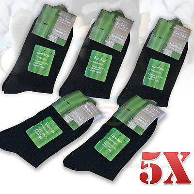 5 x Pairs Black Men Bamboo Fibre Socks Natural Healthy Odor Resistant BULK SALE