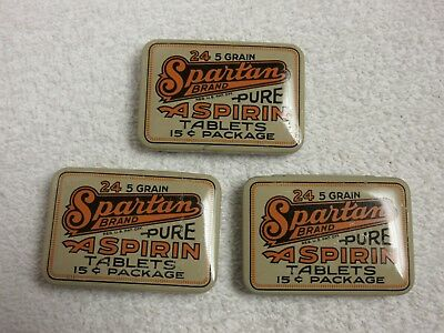vintage Spartan Aspirin tins lot of 3 lot E