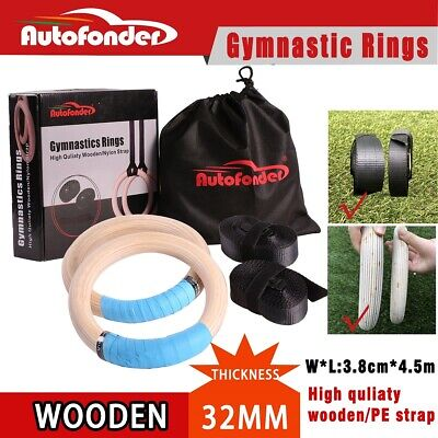 Autofonder Wooden Gymnastic Olympic Rings Crossfit Gym Fitness Training Exercise