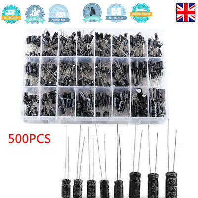 Radial Electrolytic Capacitors 500 Pack, 20 each 24 values Kit/Assortment/Mix