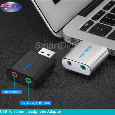 USB 2.0 3D External Stereo Audio Sound Card Adapter For Windows Mac Linux