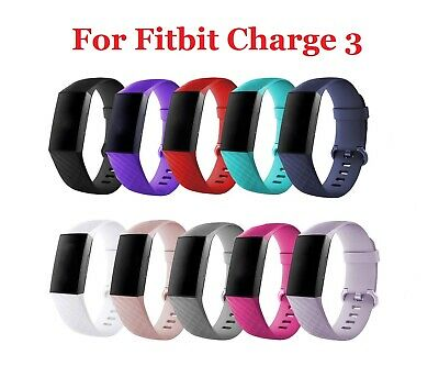 UK Silicone  Sport Band Replacement Strap for Fitbit Charge 3 Watch Small/Large