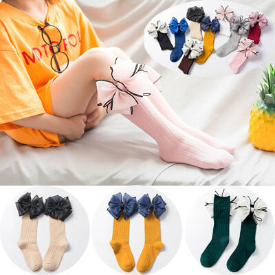 Pretty Girl Cotton Soft Candy Color High Knee Sock Baby Sock Big Bow Long Socks