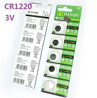 5pc 3V CR1220 DL1220 ECR1220 3 Volt Button Coin Cell Battery for CMOS watch toy