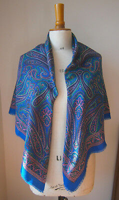 Vintage Paisley Blue Pink & Green Wool Mix Shawl Scarf Folksy Peasant Style