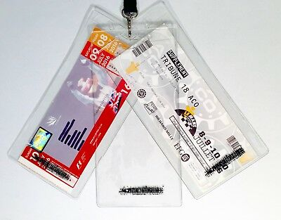 Large Plastic Ticket Holder Wallet Pass F1 MotoGP Le Mans 22 x 10cm For Lanyard
