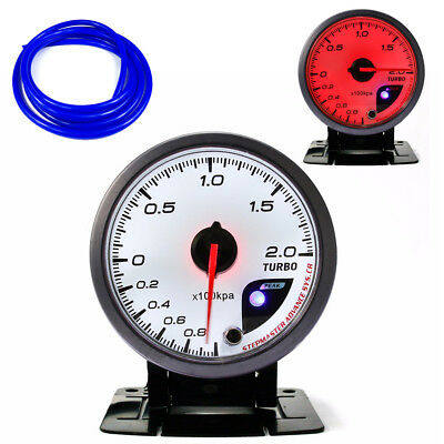 60mm Boost 2 Bar Gauge 60mm WHITE Red Dial With Peak Warning & Blue Hose