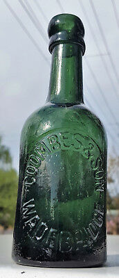 Antique 1870 Early Glass Stout Beer Unlisted World Wide Coombes & Son Old Bottle