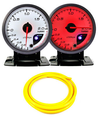 60mm Boost 2 Bar Gauge 60mm WHITE Red Dial With Peak Warning & Yellow Hose