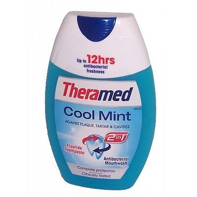 6 X Theramed 2in1 Toothpaste & Mouthwash COOL MINT 75ml