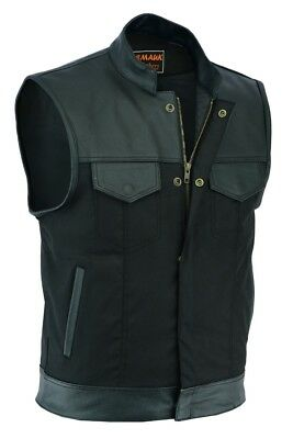 Men Codura With Trim Real Leather Son Of Anarchy Motorcycle Waistcoat - Black