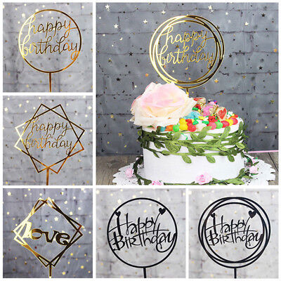 Gold Cake Topper Love Happy Birthday Card Acrylic Wedding Party Decorations Flag