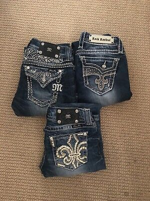 Lot of 3 pairs of jeans Miss Me/Rock Revival size 26