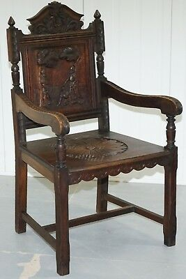 Victorian 1840 Gothic Revival Hand Carved Armchair Depicting Knights Duelling