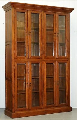 Large Edwardian Panelled Mahogany Bookcase Cabinet 4 Lockable Cupboard Doors