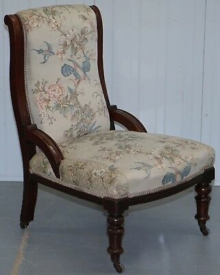 Victorian Mahogany Library Chair Part Of Suite Satin Floral & Birds Upholstery