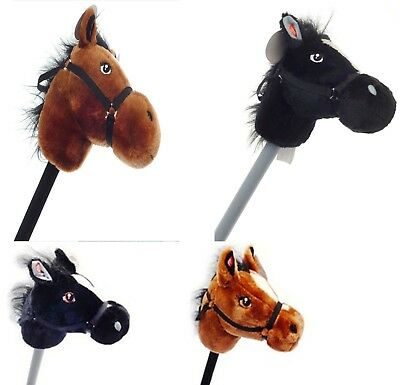 Black & Brown Pony Hobby Horse With Horse Sound Soft Kids Play Toy Xmas Gift
