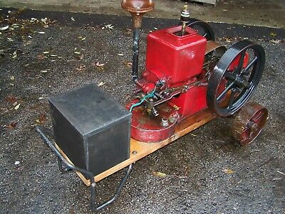 Old 1913 IHC FAMOUS 1hp Hit Miss Gas Engine Butter Churn Pulley Wheelbarrow Cart