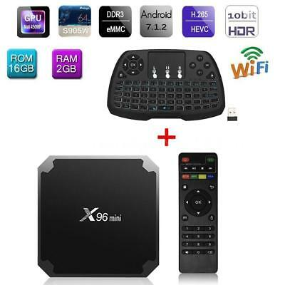 X96mini Android 7.1.2 TV Box 2G 16G S905W Quad Core H.265 WiFi DLNA 4K Clavier