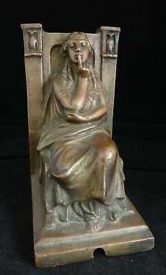 Antique Morani Athena Armor Bronze Clad Sculpture/Bookend, Signed, c. 1914.