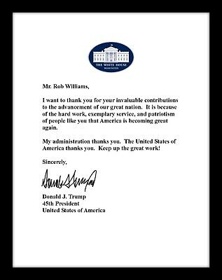 Personalized Donald Trump Signed Letter YOUR NAME 8.5 x 11 Glossy Photo Paper