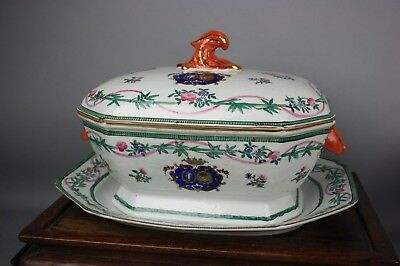 18th/19th C. Famille-rose Armorial Set of Two Covered Tureen And Plate