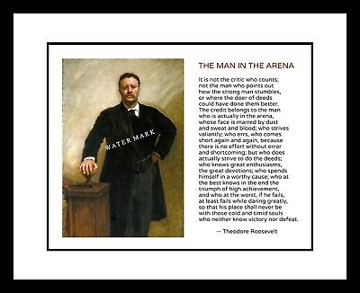 President Theodore Roosevelt 8x10 Portrait Print Man In The Arena Quote TR Teddy