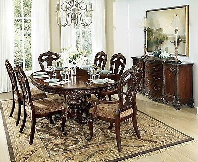 Exquisite Round Oval Formal Dining Table & 6 Chairs Dining Room Furniture Set